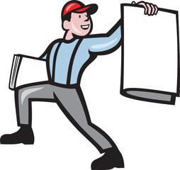 Newsboy Selling Newspaper Isolated Full Cartoon