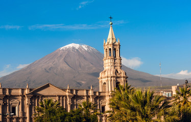 Printed kitchen splashbacks South America Country Volcano El Misti overlooks the city Arequipa in southern Peru