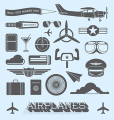 Vector Set: Airplanes and Flight Icons and Objects