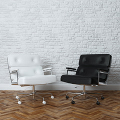 White Brick Wall Office Interior With Two Leather Armchairs