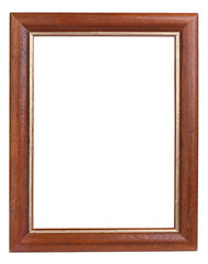 Dark wooden picture frame isolated on white with clipping path