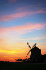 Printed kitchen splashbacks Mills Aixerrota mill in Getxo at sunset