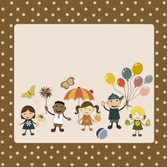 Greeting card with cute happy cartoon kids