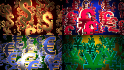 Flying Dollar, Euro, Yen and Pound Symbols.
