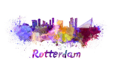 Photo sur Aluminium Rotterdam Rotterdam skyline in watercolor