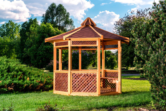 Outdoor wooden gazebo