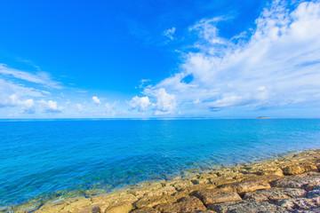 Beautiful scenery of shining blue sky and emerald green ocean