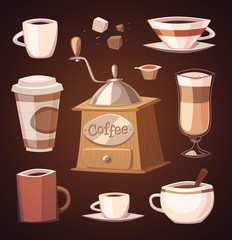 Coffee objects. Vector image