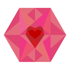 Hearts in hexagon vector isolated