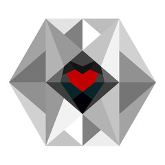 A heart in monotone hexagon vector isolated