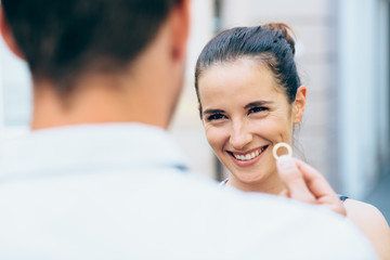 Young woman smiling after engagment proposal
