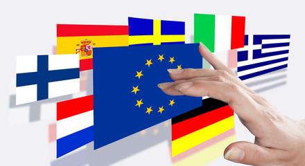 Direction fingers on the EU flag