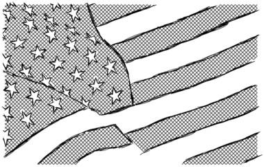 USA Flagge Fahne Zeichnung Handzeichnung Illustration