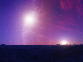Alien Planet. Landscape with stars and nebula in sky.