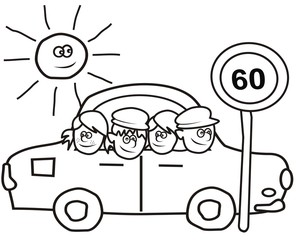 car and kids - coloring book