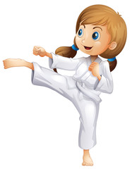An energetic young woman doing karate