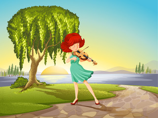 A talented girl with a violin