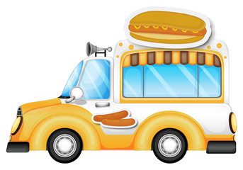A vehicle selling buns and hotdogs