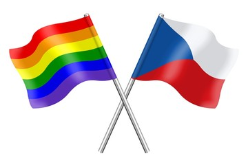 Flags : Czech Republic and rainbow
