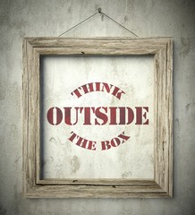 Think outside the box in old wooden frame
