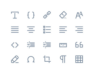 Editing and formatting icons. Line series