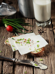 Goats milk cheese sandwich with herbs