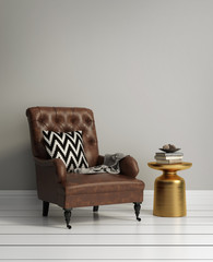 Fresh style, luxury interior with dark brown leather armchair