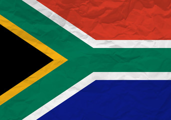 South Africa flag crumpled paper