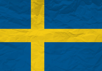 Sweden flag crumpled paper