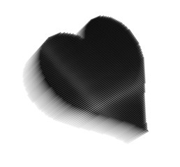 Black pixel icon-like  image of heart