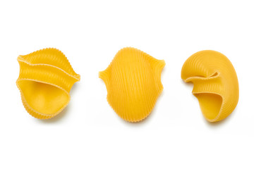 Lumaconi. Italian Pasta on White Background
