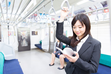 asian businesswoman in the train