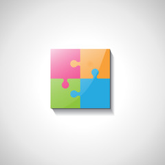 Puzzle Icon - Isolated On Gray Background
