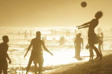 Silhouettes of Brazilians Playing Altinho Ipanema Sunset