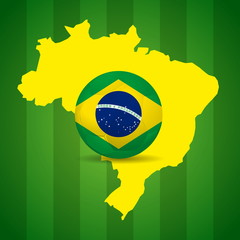 Map and Soccer ball of Brazil 2014, poster illustration