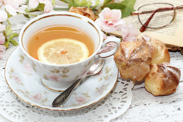 tea in elegant cup in retro style