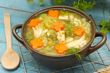 Diet soup with fresh cabbage