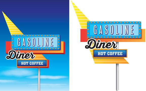 retro vintage diner, gasoline and hot coffee american roadside s
