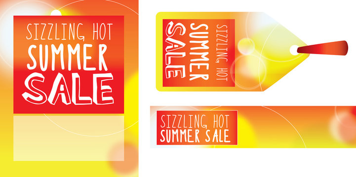 SIZZLING SALE label, banner and poster