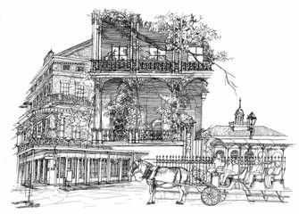 New Orleans architectural illustration drawing