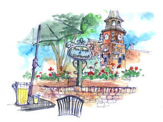 Danish town in Solvang, USA illustration