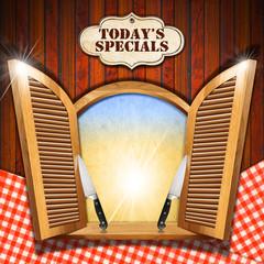 Today's Specials - Menu on Wooden Window