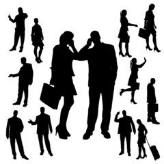 Vector silhouette of business people.