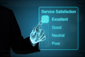 business hand clicking service satisfaction feedback on touch sc