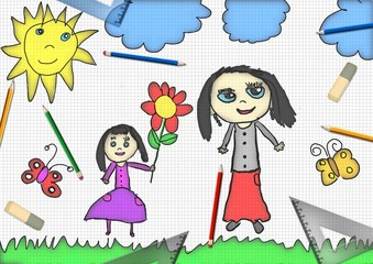 child's drawing a happy girl gives flower for mother's day