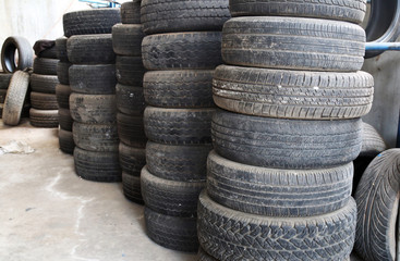 Old tires stacked.