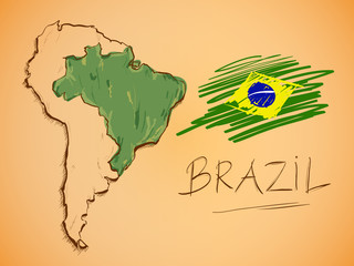 Brazil Map and National Flag Vector