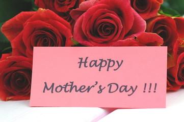 Obraz życzenia na dzień matki na tle przepięknych róż - fototapety do salonu