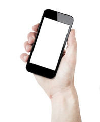 Hand holding smartphone, blank screen. isolated on white