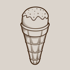 Detailed graphic ice cream isolated on light background